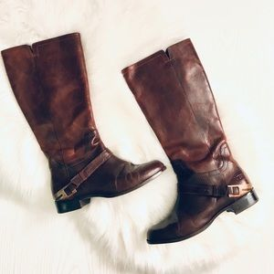 UGG Channing Riding Boots Chestnut 1001637 EUC